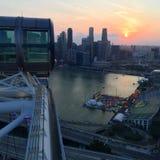 Opinión de la puesta del sol del aviador de Singapur Imagen de archivo
