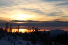 Opinión de la puesta del sol del camino de Shasta el día de la Navidad Fotografía de archivo