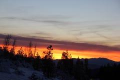 Opinión de la puesta del sol del camino de Shasta el día de la Navidad Imagen de archivo libre de regalías