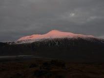 Opinión de la puesta del sol del glaciar de Snæfellsjökull Imagen de archivo