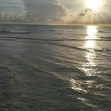 Opinión de la puesta del sol del sudoeste de la Florida, playas fotos de archivo