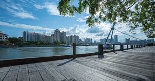 Opinión de la puesta del sol en Tanjong Rhu Fotos de archivo libres de regalías