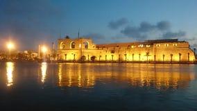 Opinión de la puesta del sol en Trípoli Foto de archivo