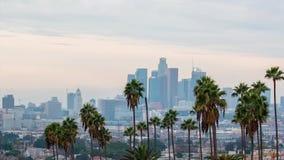 Opinión de la puesta del sol de Los Ángeles con la palmera y en el centro de la ciudad en fondo metrajes