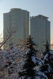 Opinión de la puesta del sol de los edificios del negocio en la ciudad de Sofía, Bulgaria Foto de archivo libre de regalías