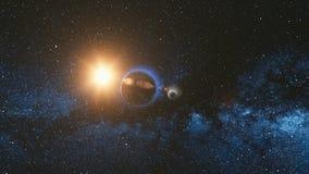 Opinión de la salida del sol del espacio en la tierra y la luna del planeta Foto de archivo