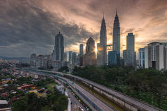 Opinión de la salida del sol Kuala Lumpur Fotos de archivo libres de regalías