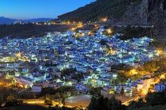 Opinión de la tarde de Chefchaouen, Marruecos Imágenes de archivo libres de regalías