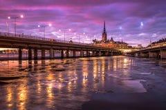 Opinión de la tarde de Estocolmo en invierno Fotografía de archivo libre de regalías