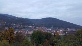 Opinión de la tarde de la ciudad vieja de Heidelberg, Alemania Fotos de archivo libres de regalías