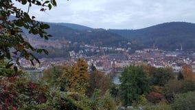 Opinión de la tarde de la ciudad vieja de Heidelberg, Alemania Foto de archivo libre de regalías