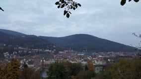 Opinión de la tarde de la ciudad vieja de Heidelberg, Alemania Foto de archivo