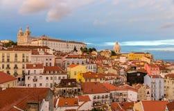 Opinión de la tarde de Lisboa, Portugal Foto de archivo libre de regalías