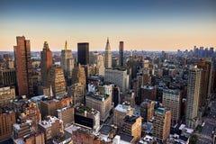 Opinión de la tarde de New York City foto de archivo libre de regalías