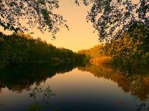 Opinión de la tarde del lago Fotos de archivo