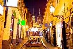 Opinión de la tarde del llght de la calle de Zagreb Fotos de archivo