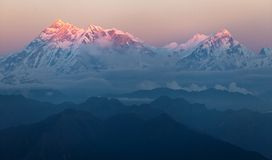Opinión de la tarde del soporte Annapurna Imagen de archivo libre de regalías