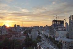Opinión de la tarde sobre Kiev Imagen de archivo libre de regalías
