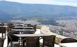 Opinión de la terraza del restaurante imagenes de archivo