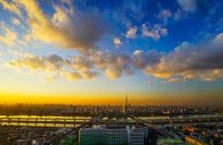 Opinión de la torre de la ciudad y del río y de Tokio de Tokio Imagen de archivo