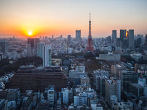 Opinión de la torre de Tokio de la puesta del sol del observatorio del World Trade Center Fotos de archivo
