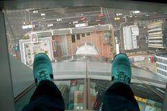 Opinión de la torre del cielo de Auckland del vidrio de la parte inferior de la calle de zapatos en Nueva Zelanda Imagenes de archivo