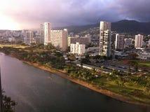 Opinión de la ventana de Waikiki Imagenes de archivo