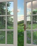 Opinión de la ventana del campo ilustración del vector