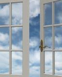 Opinión de la ventana del cielo nublado stock de ilustración