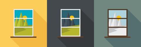 Opinión de la ventana en diversa estación Fotos de archivo libres de regalías