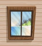 Opinión de la ventana de la historieta Día soleado en la isla del paraíso, visión desde la casa de planta baja Playa, mar, sol libre illustration