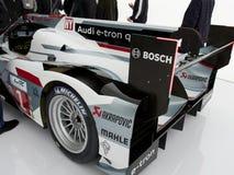 Opinión de lado trasero de Audi e-Tron R18, con el alerón Imágenes de archivo libres de regalías
