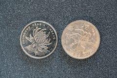 Opinión de lado trasero del primer de 1 yuan chino y de las monedas de 1 Hong-Kong del dólar aislados en fondo oscuro con el espa imágenes de archivo libres de regalías