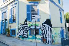 Opinión de las calles de Valparaiso Foto de archivo