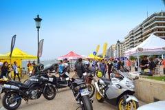 Opinión de las motocicletas de la 'promenade' de Salónica Fotos de archivo