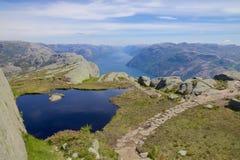 Opinión 063 de Lysefjord Imagen de archivo libre de regalías