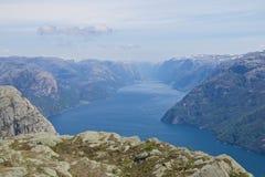 Opinión 075 de Lysefjord Foto de archivo