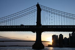 Opinión de Manhattan del puente de Manhattan Fotografía de archivo
