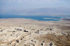Opinión de mar muerto de Masada Fotos de archivo libres de regalías