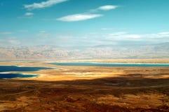 Opinión de mar muerto de Masada Imágenes de archivo libres de regalías