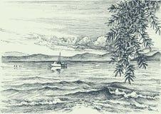 Opinión de mar tranquilo stock de ilustración