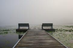 Opinión de niebla del lago Imagen de archivo