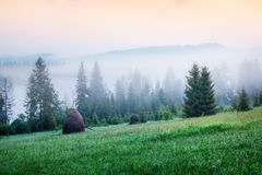 Opinión de niebla de la mañana en el valle de las montañas Salida del sol espléndida en las montañas cárpatas, ubicación del pueb fotografía de archivo libre de regalías