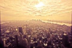 Opinión de ojo de pájaro de Manhattan, Nueva York Imágenes de archivo libres de regalías