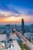 Opinión de ojos de pájaro Chao Phraya River Landscape Fotografía de archivo