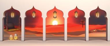 Opinión de papel del arte de la ventana árabe del desierto con la mezquita, linterna, camello, palma datilera de la puesta del so ilustración del vector