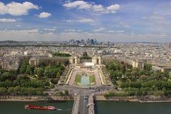 Opinión de París del top de la torre Eiffel Foto de archivo libre de regalías