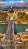 Opinión de París de la torre Eiffel fotografía de archivo