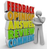 Opinión de pensamiento del comentario del feedback de la persona Fotos de archivo