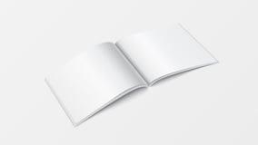 opinión de perspectiva abierta de la plantilla del libro de la maqueta 3d Color blanco en blanco del folleto en el fondo blanco p Imagen de archivo libre de regalías